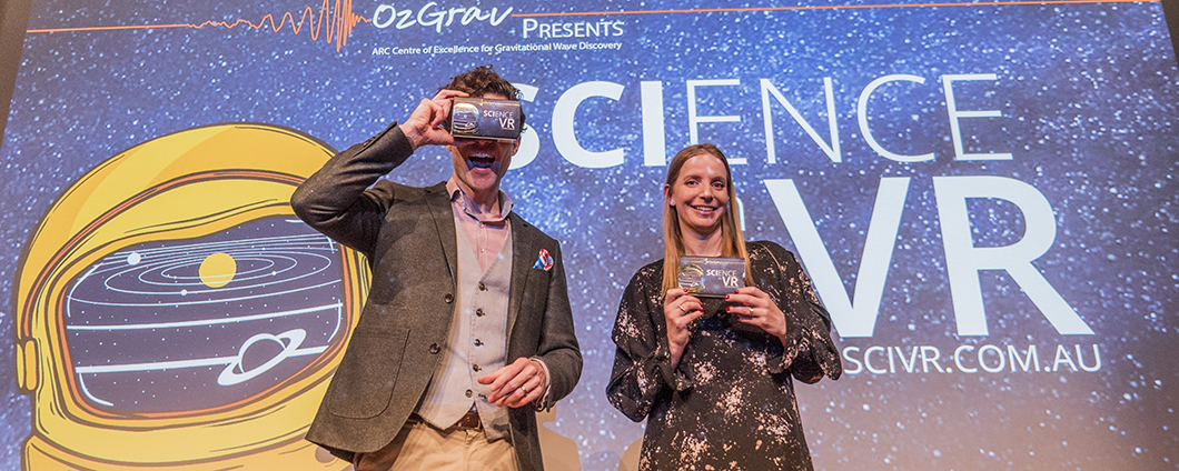Alan Duffy and Rebecca Allan on stage during a Science in Virtual Reality Event